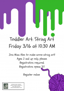 Toddler Art: String Painting @ Durham Public Library | Durham | Connecticut | United States