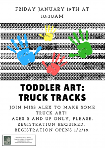 Toddler Art: Truck Tracks @ Durham Public Library | Durham | Connecticut | United States